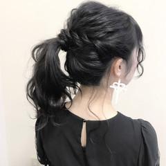 結婚式 黒髪 ロング フェミニン ヘアスタイルや髪型の写真・画像