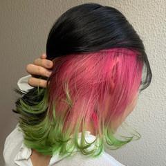 デザインカラー ピンク ナチュラル インナーカラー ヘアスタイルや髪型の写真・画像