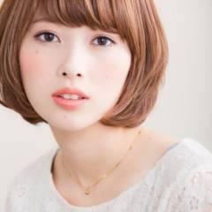 愛され 丸顔 大人かわいい ナチュラル ヘアスタイルや髪型の写真・画像