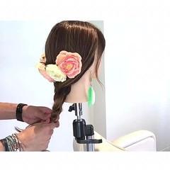 簡単ヘアアレンジ ヘアアレンジ 三つ編み セミロング ヘアスタイルや髪型の写真・画像