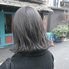 ストリート ハイライト グレー ボブ ヘアスタイルや髪型の写真・画像