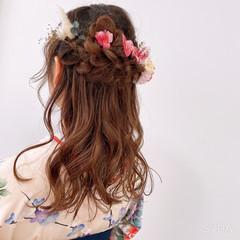 ふわふわヘアアレンジ ハーフアップ 結婚式ヘアアレンジ 卒業式 ヘアスタイルや髪型の写真・画像