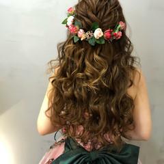 ヘアセット 結婚式 ハーフアップ 花嫁 ヘアスタイルや髪型の写真・画像