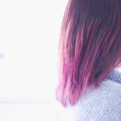 ナチュラル ピンク グラデーションカラー グラデーション ヘアスタイルや髪型の写真・画像