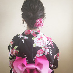 お祭り ガーリー 夏 和装 ヘアスタイルや髪型の写真・画像
