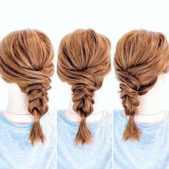 フェミニン 編みおろし ダウンスタイル ヘアアレンジ ヘアスタイルや髪型の写真・画像