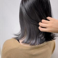 グレージュ ハイライト インナーカラー ストリート ヘアスタイルや髪型の写真・画像