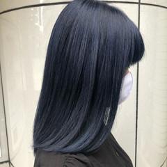 ミディアム ブリーチ ガーリー ネイビー ヘアスタイルや髪型の写真・画像
