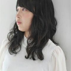 ゆるふわ 黒髪 前髪パッツン ロング ヘアスタイルや髪型の写真・画像