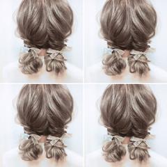 ヘアアレンジ ガーリー セミロング 結婚式 ヘアスタイルや髪型の写真・画像