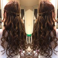 ロング ヘアアレンジ まとめ髪 編み込み ヘアスタイルや髪型の写真・画像