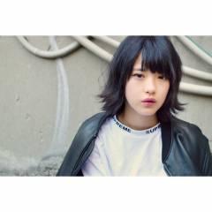 ウェーブ 黒髪 モード ストレート ヘアスタイルや髪型の写真・画像