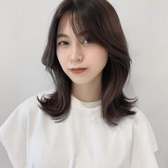ミディアム オルチャン 韓国ヘア くびれミディ ヘアスタイルや髪型の写真・画像