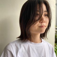 透明感カラー 大人かわいい ロブ 切りっぱなしボブ ヘアスタイルや髪型の写真・画像