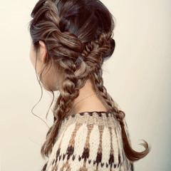フェミニン ヘアアレンジ ロング 編み込みヘア ヘアスタイルや髪型の写真・画像