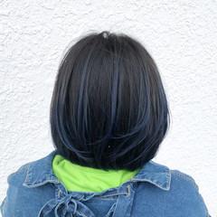 フェミニン ブルー コントラストハイライト 外国人風カラー ヘアスタイルや髪型の写真・画像