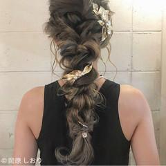 ロング 成人式 モード 編み込み ヘアスタイルや髪型の写真・画像