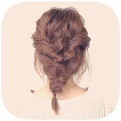 編み込み ヘアアレンジ ヘアスタイルや髪型の写真・画像