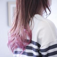 グラデーション ピンク セミロング グラデーションカラー ヘアスタイルや髪型の写真・画像