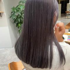 ダブルカラー フェミニン ラベンダーグレージュ ラベンダー ヘアスタイルや髪型の写真・画像