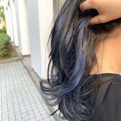 インナーブルー ブルー インナーカラー ミディアム ヘアスタイルや髪型の写真・画像
