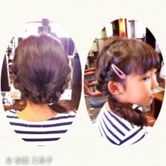 ロング ガーリー ヘアアレンジ 子供 ヘアスタイルや髪型の写真・画像