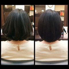 フェミニン ボブ 大人かわいい 黒髪 ヘアスタイルや髪型の写真・画像