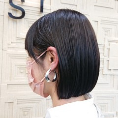 髪質改善カラー 大人カジュアル ショートボブ ストリート ヘアスタイルや髪型の写真・画像