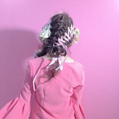 簡単ヘアアレンジ セミロング ヘアアレンジ リボンアレンジ ヘアスタイルや髪型の写真・画像