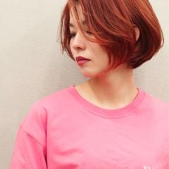 ナチュラル オレンジベージュ ショート ショートボブ ヘアスタイルや髪型の写真・画像