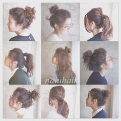 お団子 ショート アッシュ ゆるふわ ヘアスタイルや髪型の写真・画像