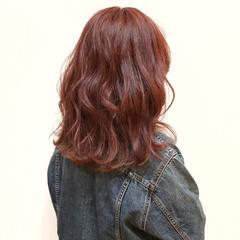 波ウェーブ ミディアム 透明感 ハイライト ヘアスタイルや髪型の写真・画像