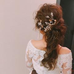 ロング 結婚式髪型 ヘアアレンジ フェミニン ヘアスタイルや髪型の写真・画像