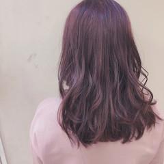 ロング ピンク デート ヘアアレンジ ヘアスタイルや髪型の写真・画像
