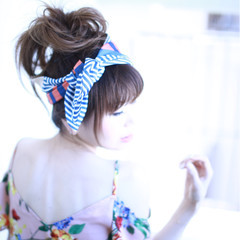 ヘアアクセ ゆるふわ ヘアアレンジ お団子 ヘアスタイルや髪型の写真・画像