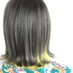 グラデーションカラー モード ボブ 外はね ヘアスタイルや髪型の写真・画像
