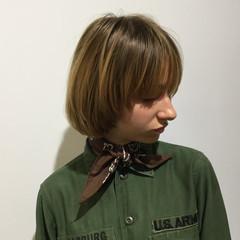 切りっぱなしボブ ブロンド 銀座美容室 ボブ ヘアスタイルや髪型の写真・画像