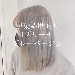 透明感カラー ブリーチオンカラー アッシュベージュ エレガント ヘアスタイルや髪型の写真・画像