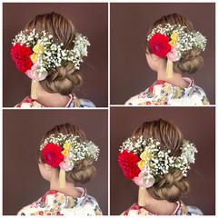 大人かわいい セミロング ナチュラル 結婚式 ヘアスタイルや髪型の写真・画像
