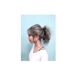 ヘアアレンジ ゆるふわ アッシュ ミディアム ヘアスタイルや髪型の写真・画像