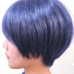 ネイビー ネイビーカラー ネイビーブルー ストリート ヘアスタイルや髪型の写真・画像