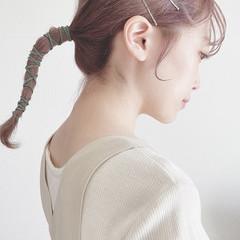 ラベンダーカラー ピンクベージュ ミディアム ナチュラル ヘアスタイルや髪型の写真・画像