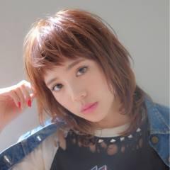 モード ミディアム ストリート 丸顔 ヘアスタイルや髪型の写真・画像