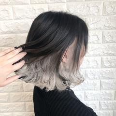 インナーカラーホワイト エレガント ホワイトカラー ボブ ヘアスタイルや髪型の写真・画像