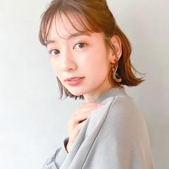 鎖骨ミディアム 透明感 ナチュラル可愛い ガーリー ヘアスタイルや髪型の写真・画像