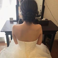 結婚式 ヘアアレンジ セミロング アップ ヘアスタイルや髪型の写真・画像
