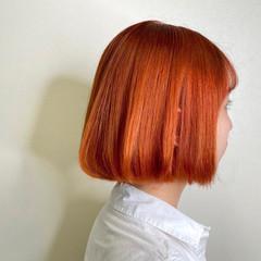 インナーカラーオレンジ ガーリー オルチャン ボブ ヘアスタイルや髪型の写真・画像