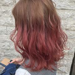 アンニュイ フェミニン セミロング ダブルカラー ヘアスタイルや髪型の写真・画像