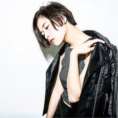 黒髪 ショート モード パーマ ヘアスタイルや髪型の写真・画像