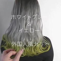 セミロング 外国人風カラー 透明感 グラデーションカラー ヘアスタイルや髪型の写真・画像